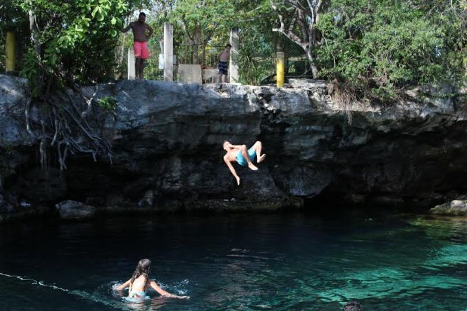 Tourists taking a dive into Cenote Cristalino Saturday, Jan. 14, 2017, in Riviera Maya. From their accents, some of the tourists were Argentine, French, Russian and, of course, American and Mexican.