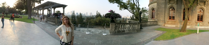 The missus atop the Castle of Chapultepec.