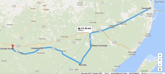roadtrip-chichen-Itza-coba-valladolid-2-map